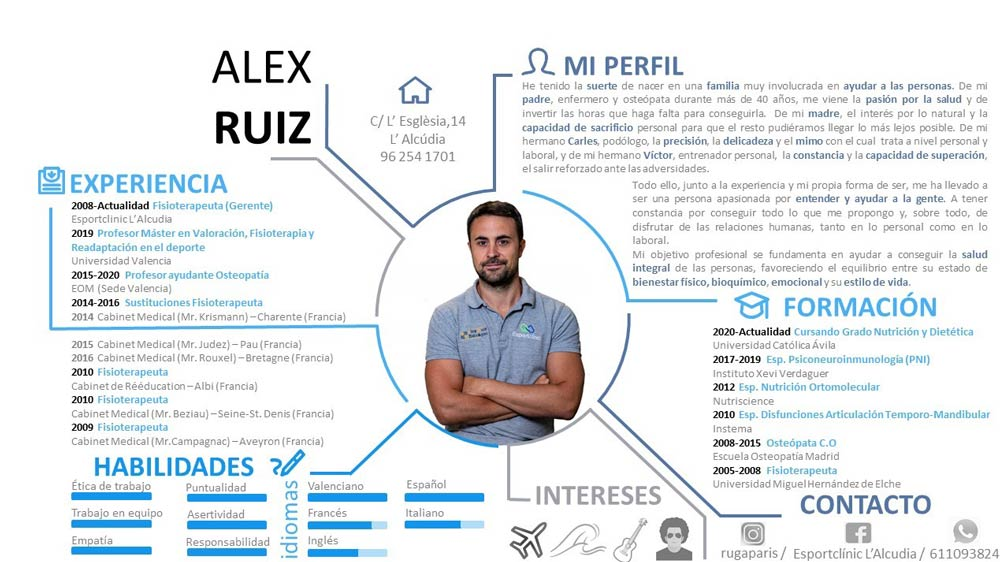 Curriculum de Alex Ruiz fisioterapeuta